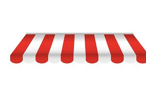 Red and white sunshade for shops