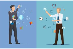 Two Online Business Posters Vector