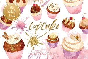 Cupcake Clipart Set in Grunge Style