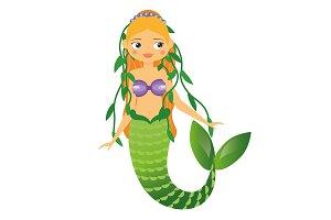 Cute Mermaid with alga in hair