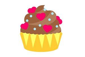 Valentine's day chocolate cupcake