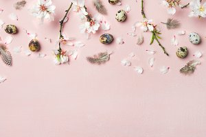 Easter background with eggs, almond