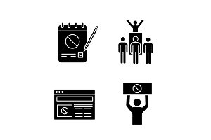 Protest action glyph icons set