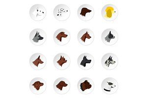 Dog head icons set, flat style