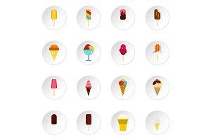 Ice cream icons set, flat style