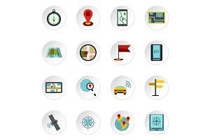 Navigation icons set, flat style