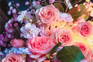 Peony roses and small flowers with