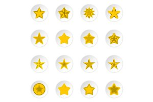 Star icons set, flat style