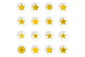 Star icons set, flat style