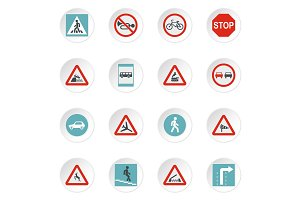Road signs icons set, flat style