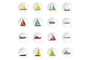 Ship and boat icons set, flat style