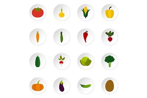 Vegetable icons set, flat style