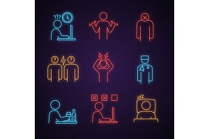 Emotional stress neon light icons