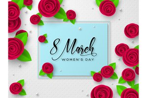 March 8 greeting card for Womens Day