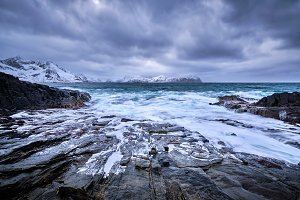 Norwegian Sea waves on rocky coast