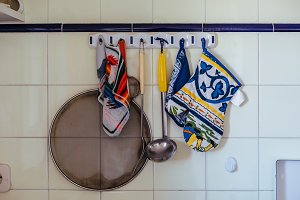 Rags and kitchen utensils