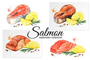Salmon. Watercolor collection