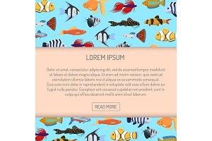 Marine aqua fish banner vector