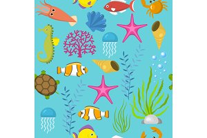 Seamless vector pattern with cute