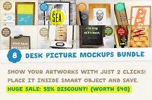 [-50%] 8 Desk Picture Mockups Bundle