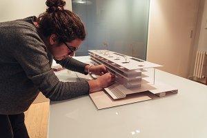 Female architect working on