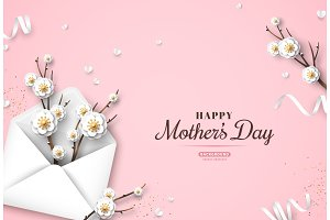 Mothers Day festive greeting card