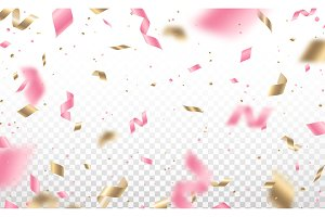 Falling pink and gold confetti