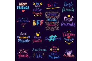 Friend lettering vector BFF
