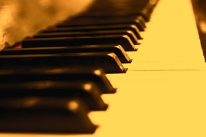 Close up piano keys in little yellow