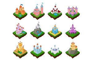 Cartoon castle vector fairytale
