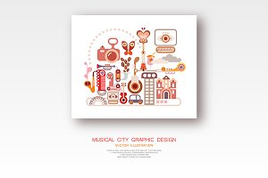Musical City vector illustration