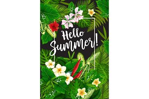 Summer poster with tropical plants