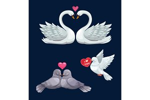 Loving bird couples with hearts