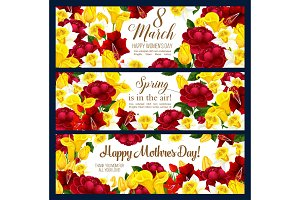 Women day flowers banners