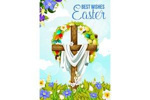 Easter cross, egg and flower