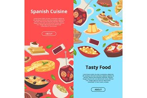 Spanish food vector pattern