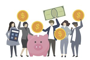 Business people banking and saving