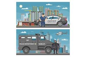 Police car vector policeman