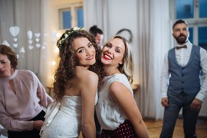 A young bride and her female friend