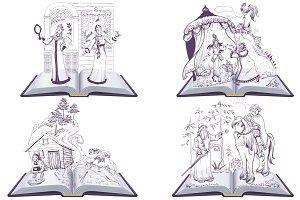Set open book Pushkin russian tale