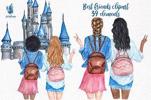 Best Friends Girls Clip art