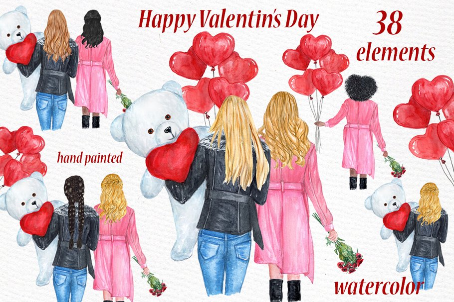 Valentines day girls clipart