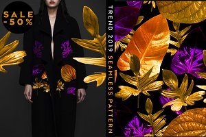 -50%OFF Seamless pattern with leaves