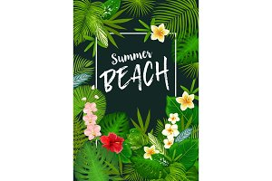 Summer vacation tropical palm leaves