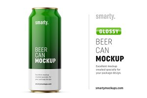 Glossy drink can mockup / front