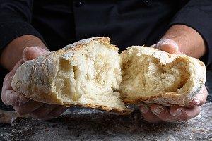 fresh baked white wheat flour bread