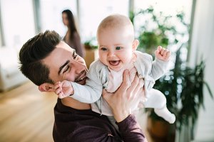 A portrait of young father with a