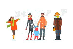 Warmly dressed people, winter time