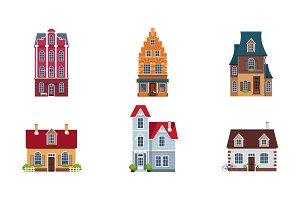 Building facades set, buildings