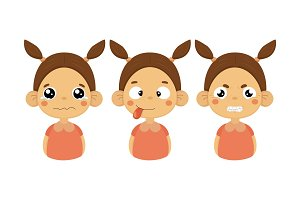 Flat vector set of little girl with